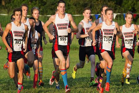 Members of the 2014 men's cross country team run during the Stegemoller Classic.
