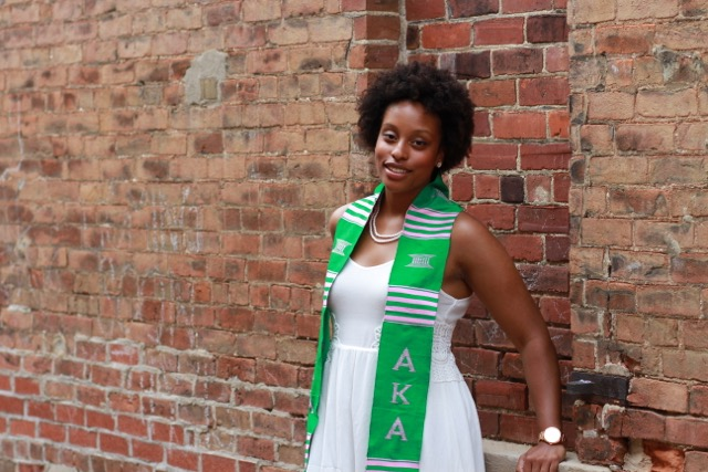 Graduate Briony Towler is a founding member and now president of the Tau Rho chapter of Alpha Kappa Alpha.