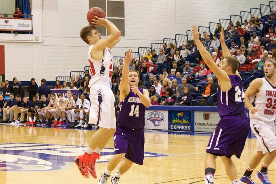 Freshman guard, Alex Stein, plays offense during the Eagles' Thursday game against the Bearcats.