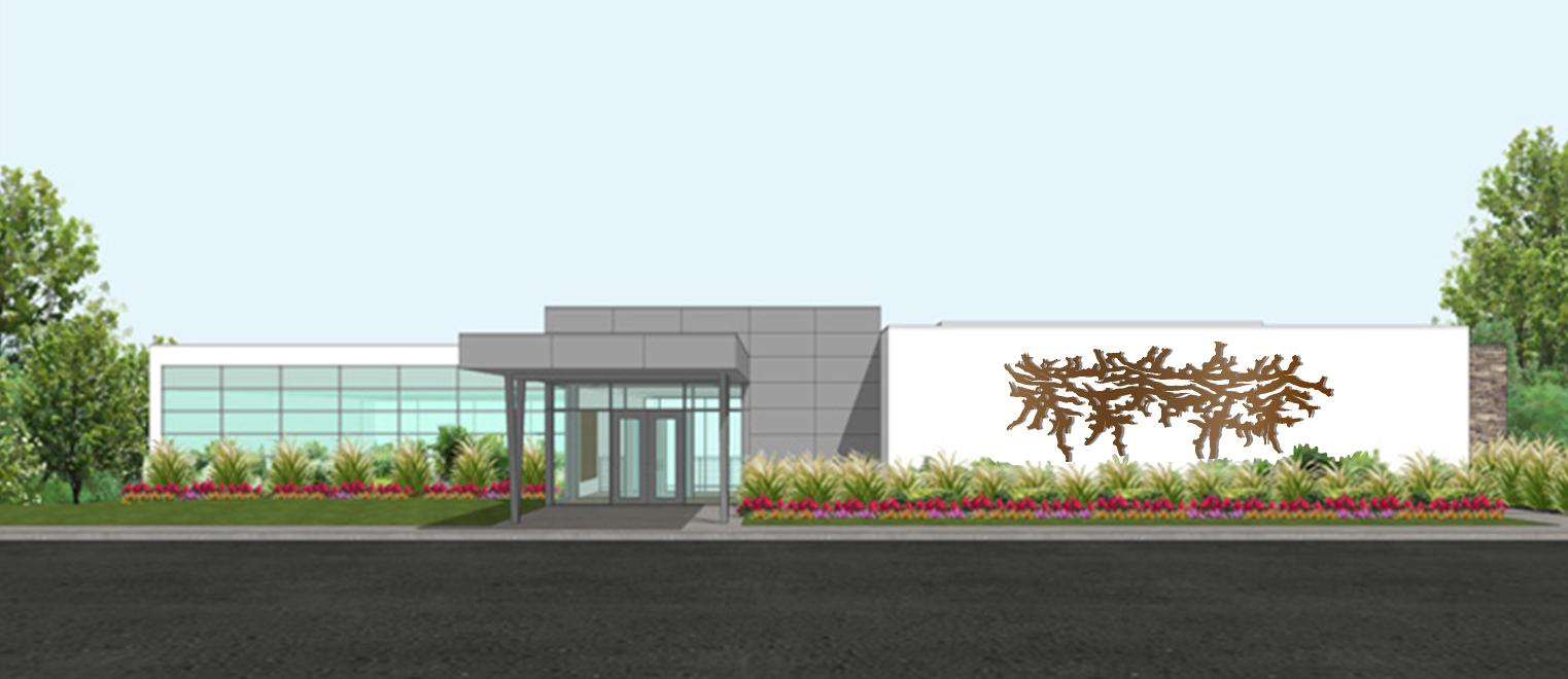 "This design illustrates Joan Kempf deJong and John McNaughton's proposed sculpture for the Griffin Center, titled ""Bent Twig."""
