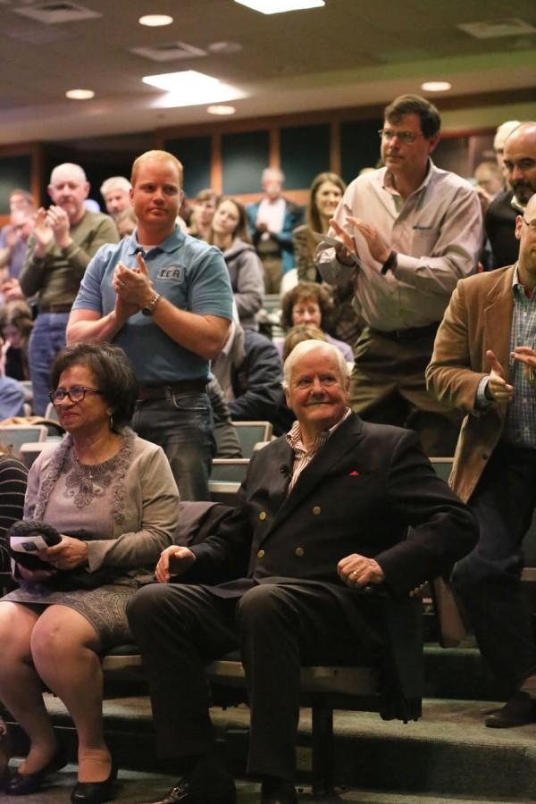 Os Guinness, an author and social critic, gets a standing ovation after his presentation on religious freedom and civility in Mitchell Auditorium on Wednesday