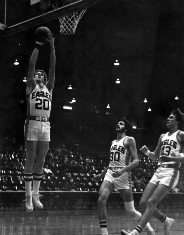 Ernie Brothers, a former guard for the men's basketball team, goes for a layup during a game in the 1970s. Brothers wil be inducted into the USI Athletic Hall of Fame Friday.
