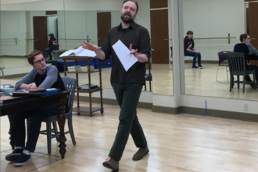 """Colin Culliver, Richard Price and Aimee Grace rehearse for """"Arcadia,"""" Tuesday night which will be performed at 7:30 p.m. Feb. 18-20."""