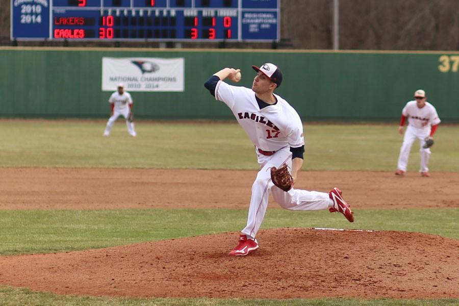 Junior pitcher Colin Nowak pitches during the first home game of the season against Grand Valley State University Friday at the USI Baseball Field.