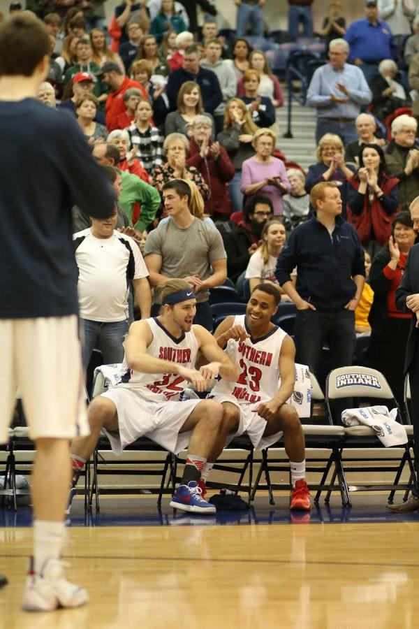 As the Eagles get announced before the game against Bellarmine University, seniors Seniour and Britt get pumped up while awaiting their names to be called.