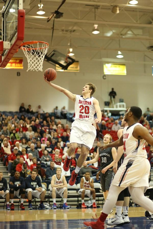 Freshman guard Alex Stein shoots for two during a game against Truman State University January in the PAC.