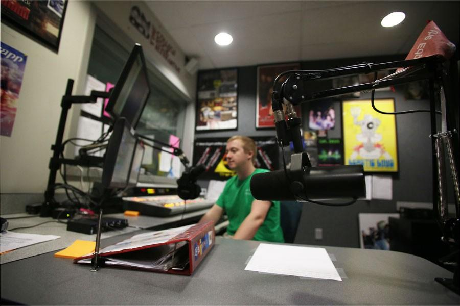Freshman radio and television major Sebastian Sturgeon dj's the morning show Thursday at The Edge Radio.  The station announced that they will be getting an FM translator that will allow them to air on FM stations.