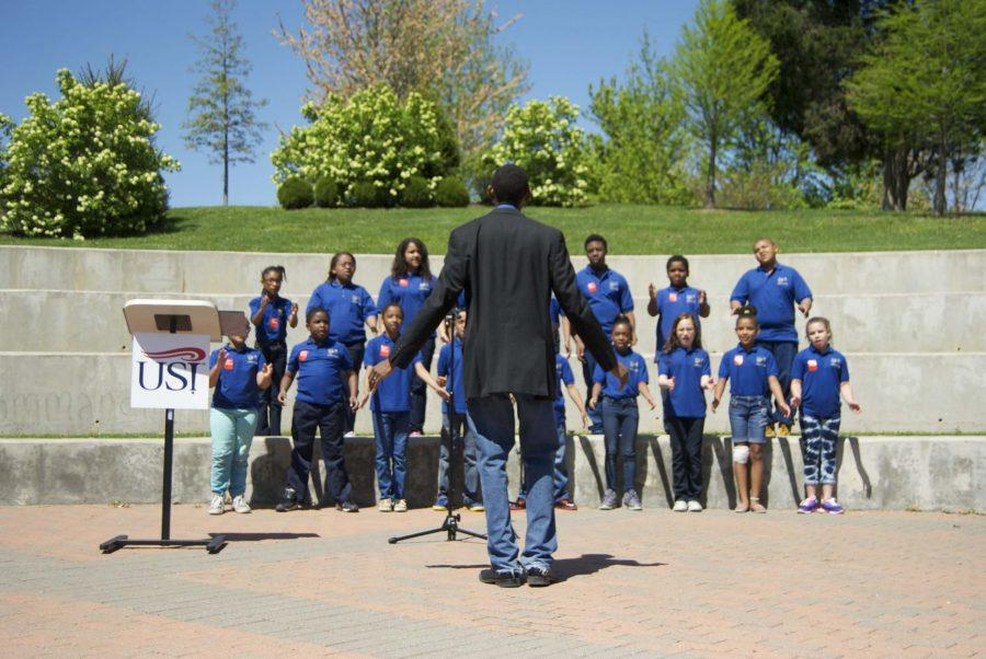 "The Joshua Academy choir sings ""Heal the World"" by Michael Jackson last April at the Take a Stand Against Racism rally. This year's ralley will take place April 28, at the USI Amphitheater."