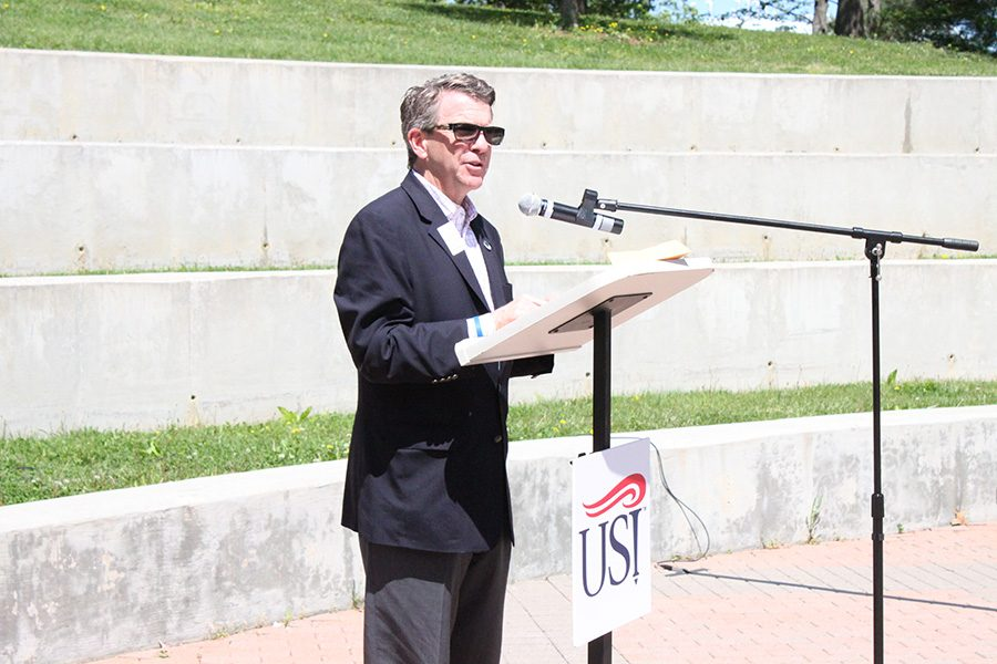 """Mayor of Evansville, Lloyd Winnecke, proclaims April 28th as YWCA Stand Against Racism Day in the city of Evansville at the Amphitheatre during the Stand Against Racism rally on Thursday. """"I challenge each of you, let's not just make it about today, this should be our challenge year round,"""" Winnecke said."""