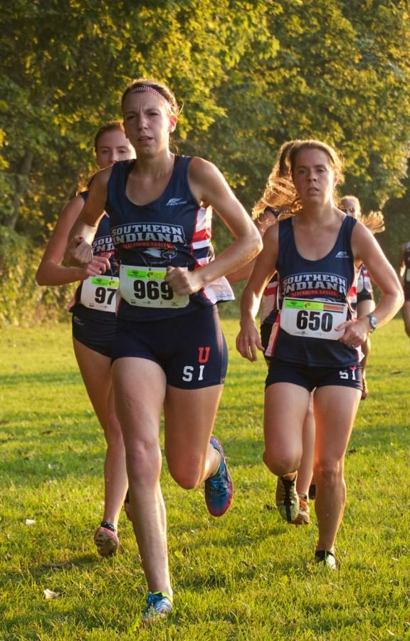Sophomore+Emily+Roberts+runs+the+Stegemoller+Classic+last+September+at+Angel+Mounds+State+Park+in+Evansville.+Roberts+recently+broke+an+11-year-old+record+formerly+held+by+former+USI+runner+Heather+Cooksey.+