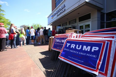 Thousands of people wait in line to enter the republican presidential candidate Donald Trump's rally at the Old National Events Plaza in downtown Evansville on April 28, 2016.