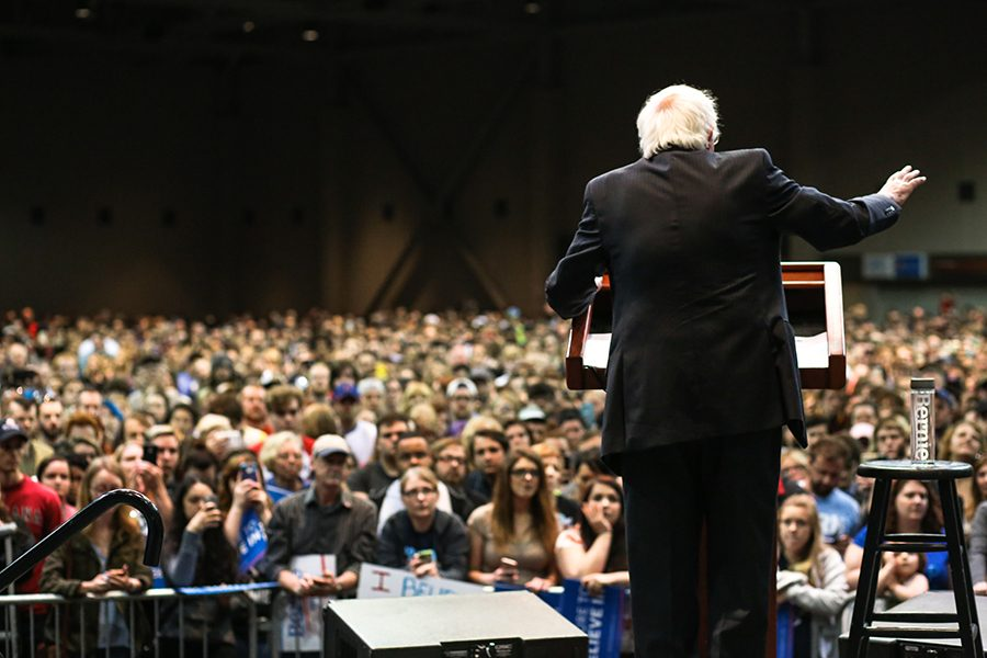 Thousands of people stood inside of the Old National Events Plaza Monday to listen to democratic presidential candidate Bernie Sanders