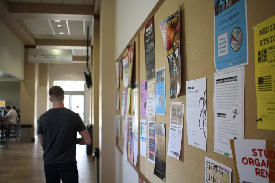 Students walking to class often pass by bulletin boards like these filled with information about upcoming events and important information for on campus events.