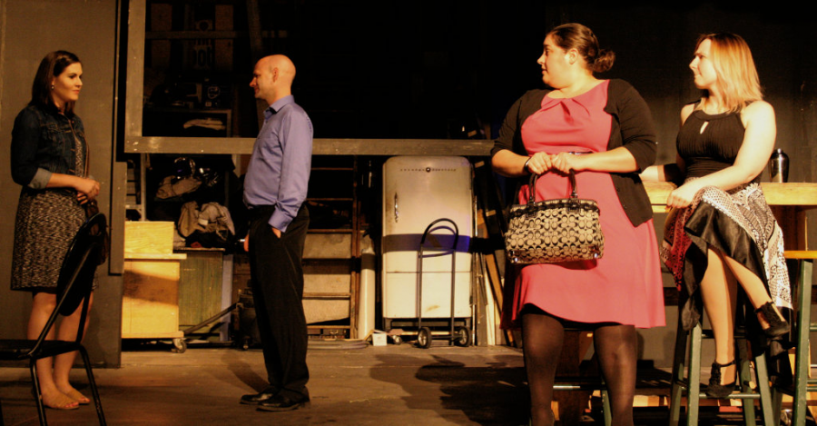 """Christina Hauger (Thalia), Jim Hunter (Tim), Melissa Henning (Sonia) and Devin Victoria McBride (Charlotte) rehearse a scene from """"The Conversation of the Keys."""" Hunter is also directing the play."""