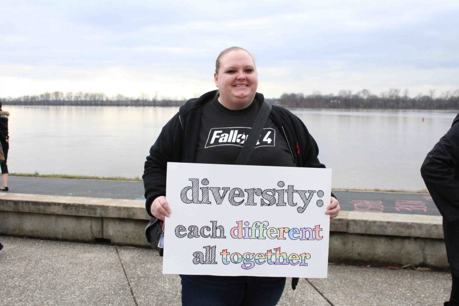 Lizz+Barnes%2C+a+part+of+the+revolutionary+diversity+group+in+Evansville+hopes+for+positive+change+and+not+negative+at+the+Rally+for+Diversity+Friday+afternoon.
