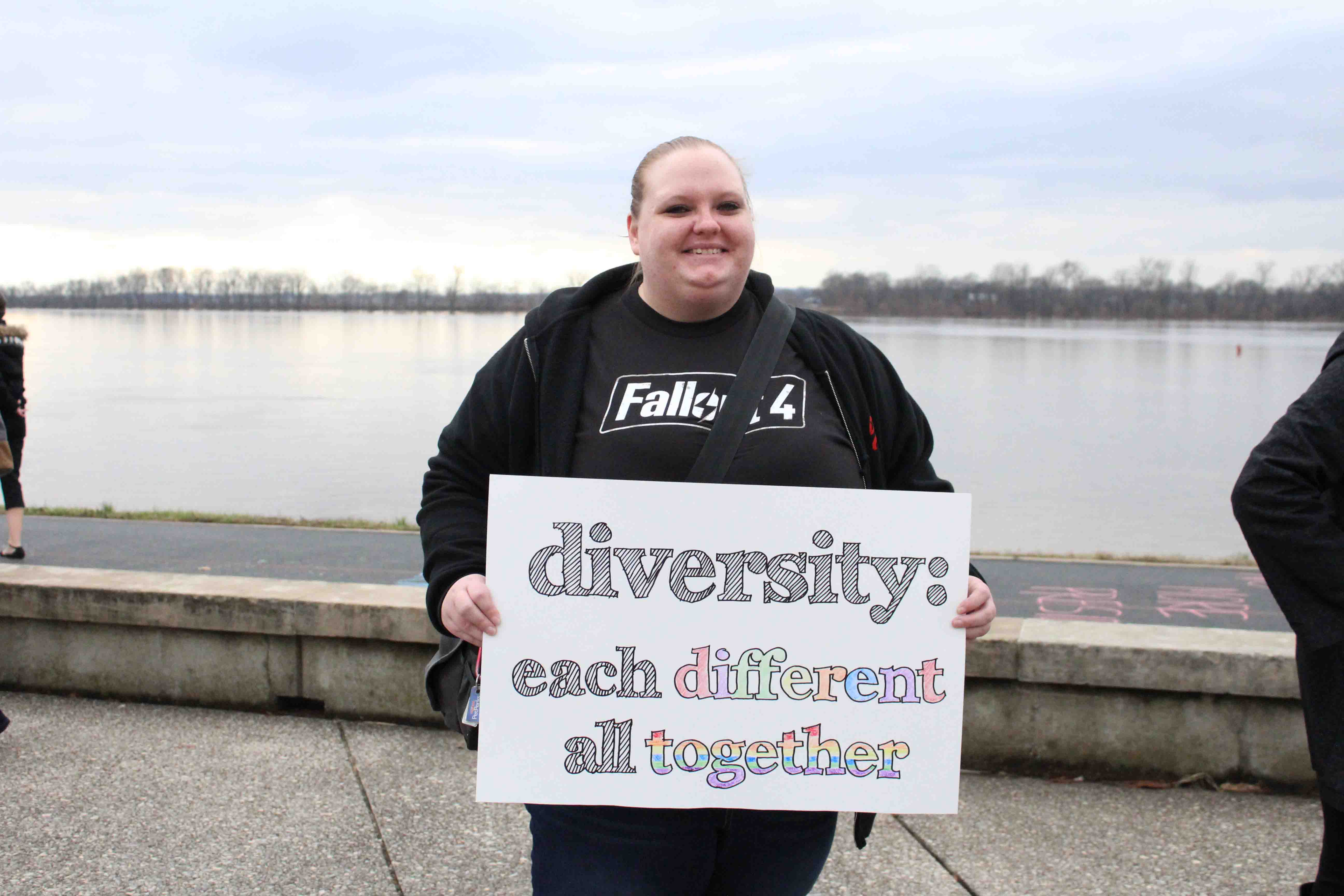 Lizz Barnes, a part of the revolutionary diversity group in Evansville hopes for positive change and not negative at the Rally for Diversity Friday afternoon.