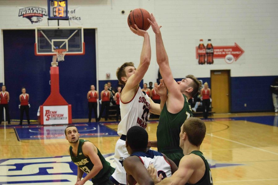Alex Stein, a sophomore guard, goes up for a shot against a Missouri S&T Thursday night.