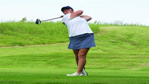 Junior Taylor Howerton follows through with her swing during the Screaming Eagles Golf Classic in September. Howerton transfered to the university to compete in the 2016 season after spending her freshman year at Indiana University.