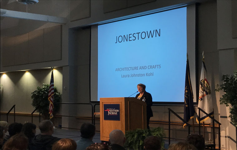 Laura Johnston Kohl, a Jonestown survivor talks about her experience in the People's Temple Monday night in Carter Hall.