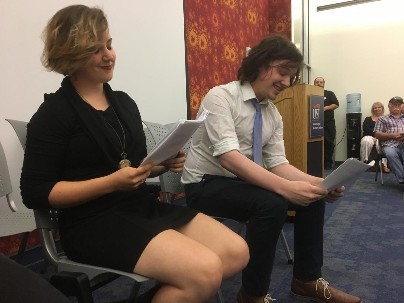 Junior art and international studies major Cristine Pyle and junior criminal justice major Brock Murray read an excerpt from fellow student Andrea Morgan Dale's play,