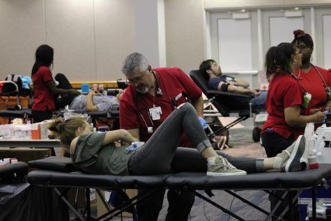 Students filed into Carter Hall to donate blood Monday afternoon. The event was hosted by Delta Zeta and Kappa Alpha and the American Red Cross.