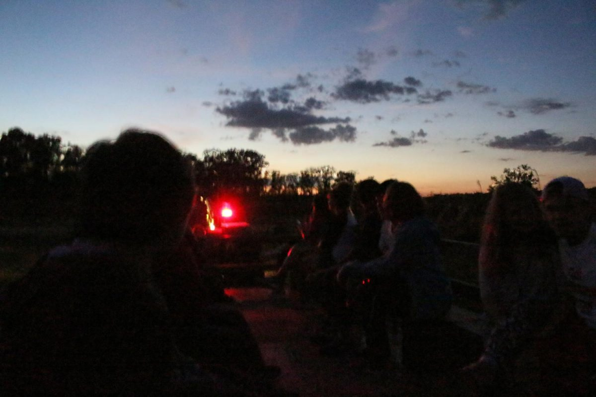 Students took a ride on the hay wagon on Mayse Farm during the first off-campus Late Night at USI event Friday night. Students enjoyed free food, corn mazes, rat races, and hayrides.