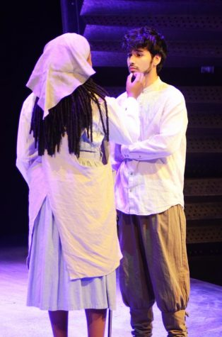 Jason Merslich (right) and Jesmelie Williams (left) practice their mother and son scene during dress rehearsal for
