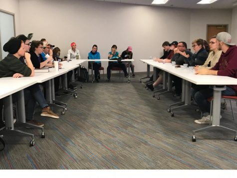 Students and SAGA members participate in a panel discussion about how to be religious and also be involved in the LGBTQ community. Panel discussion leaders helped facilitate discussions, guide, and ask questions.