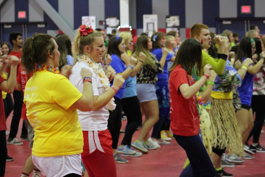 University Students dance along to the instructor on the stage during the 2017 Riley Dance Marathon. The Marathon raised $30,000 more than last year, with a total of $92, 449.55.
