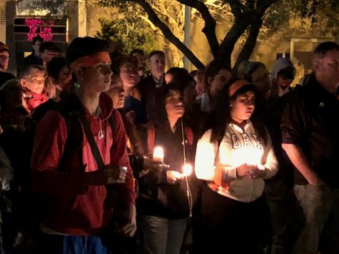 Students at Tam Valley High School in California participate in a vigil following the mass shooting in Parkland, Florida.