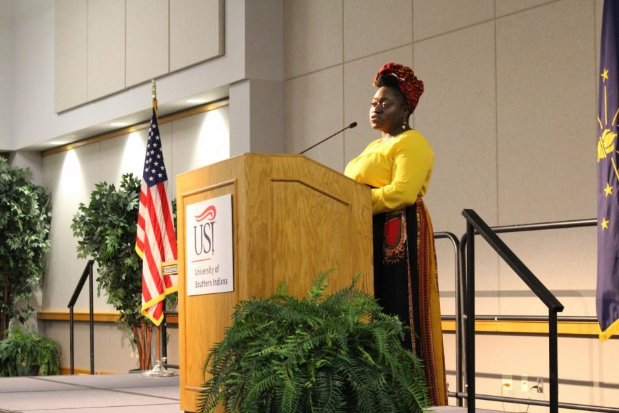 Social justice activist Tia Oso talks to students, faculty, administrators and the general public in Carter Hall Wednesday night.