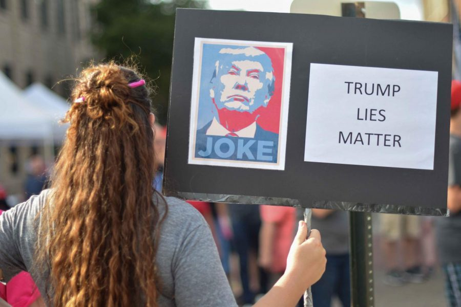 Protesters flocked to the Ford Center Thursday evening to demonstrate their opposing opinions during the Trump Rally at the Ford Center. The president came to Evansville to rally for Mike Braun who is running for U.S. Senate this November.