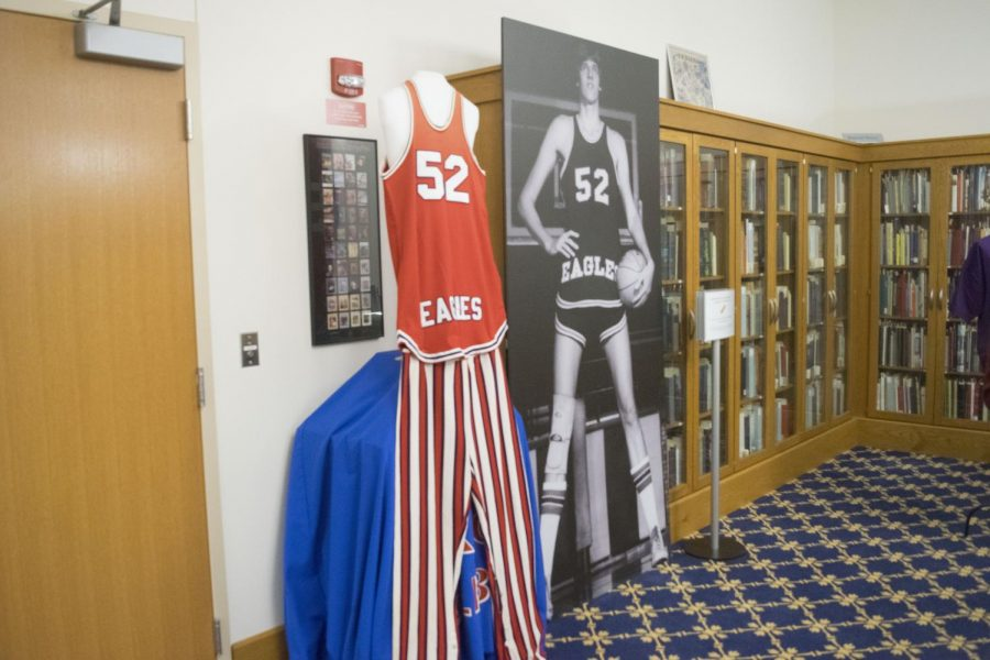 The picture and jersey of John Hollidan sit on display on the third floor of Rice Library for the annual Archives Fest.