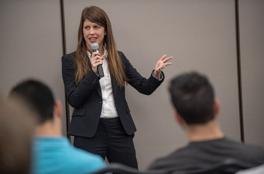 Wall Street Journal reporter and author Keach Hagey spoke about her new book, her work in the journalism sphere, life beyond Evansville and many other topics in Carter Hall on Oct. 18.