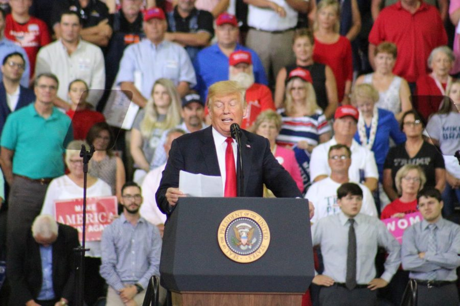 President Donald Trump speaks in Evansville Aug. 21 at the Ford Center.