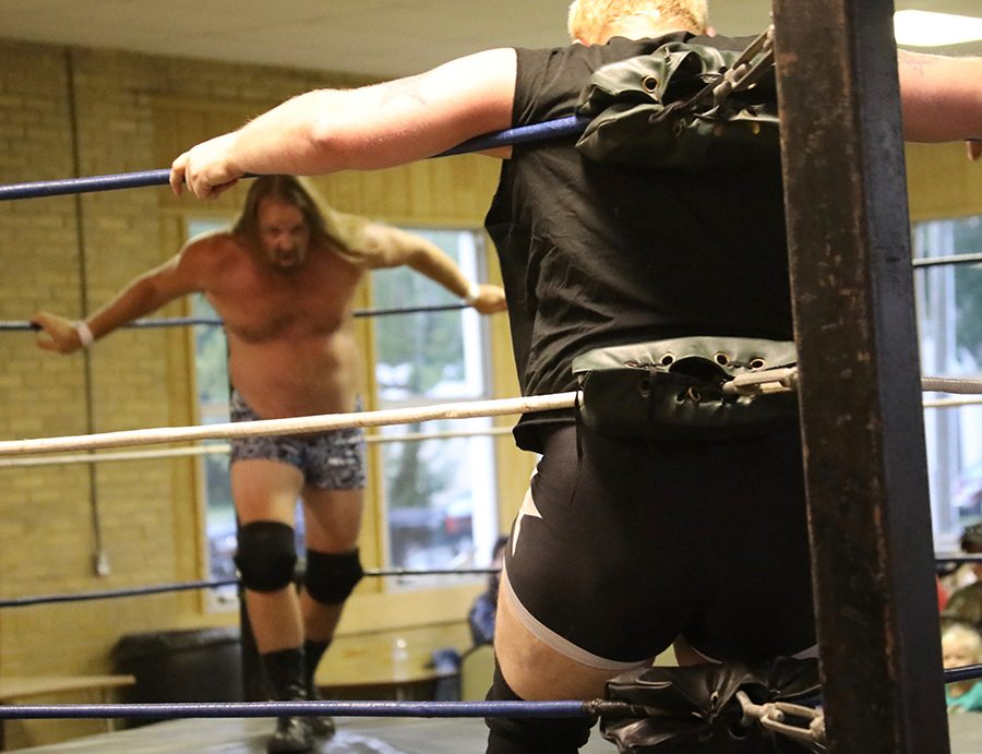 Kyle Pipher prepares to charge his opponent, Dirty Dave, during the IWAU match.