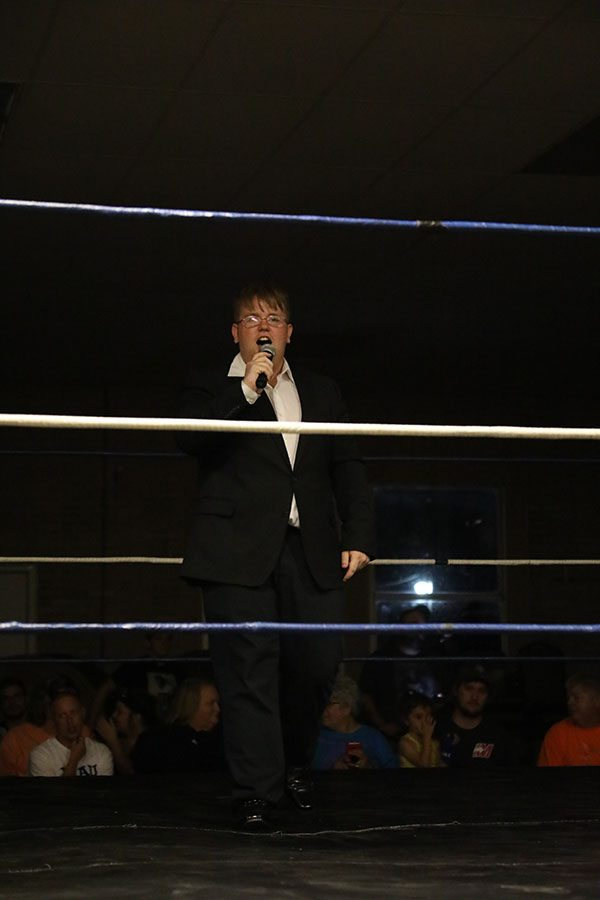 Student lives out dream as pro wrestling ring announcer