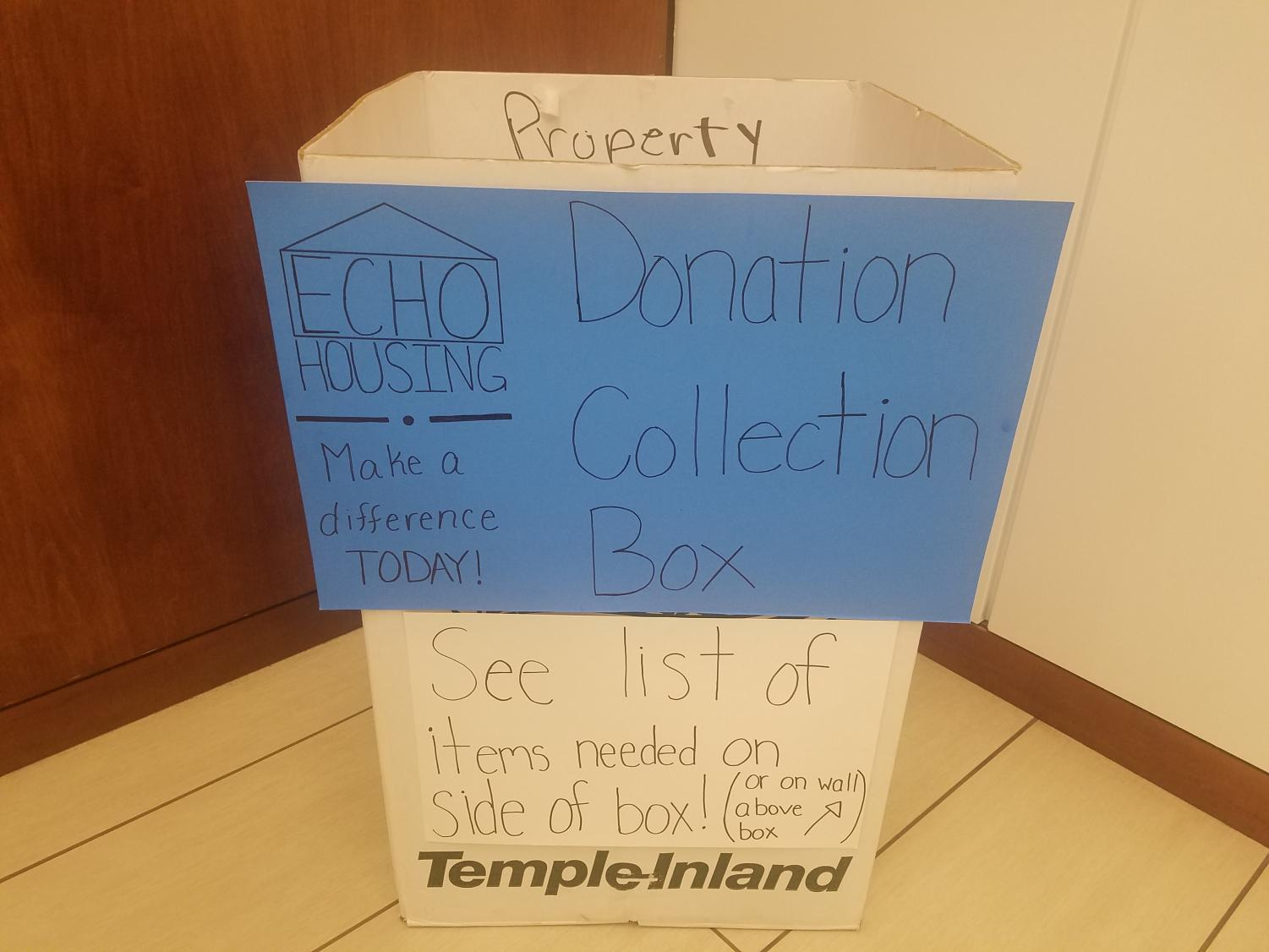 Items will be collected for ECHO Housing Corporation in this box outside the Social Work Department.