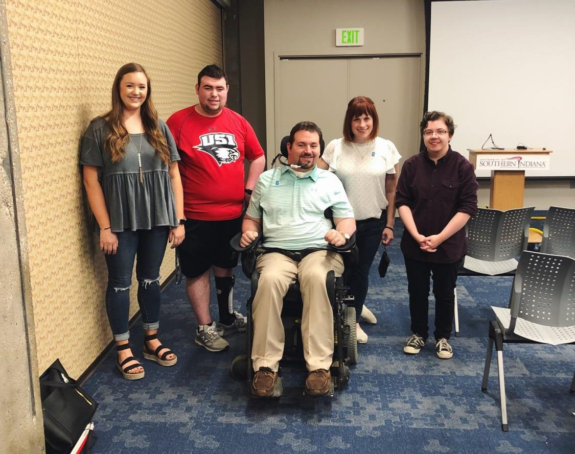 Members of Disability Coalition at an event with Ben Trockman, Diversity and Inclusion Specialist at Old National Bank.