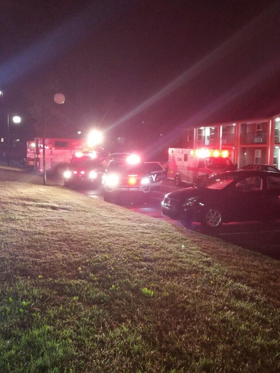Ambulances and Sheriff cars outside Leslie apartment Oct. 26 after a grease fire.