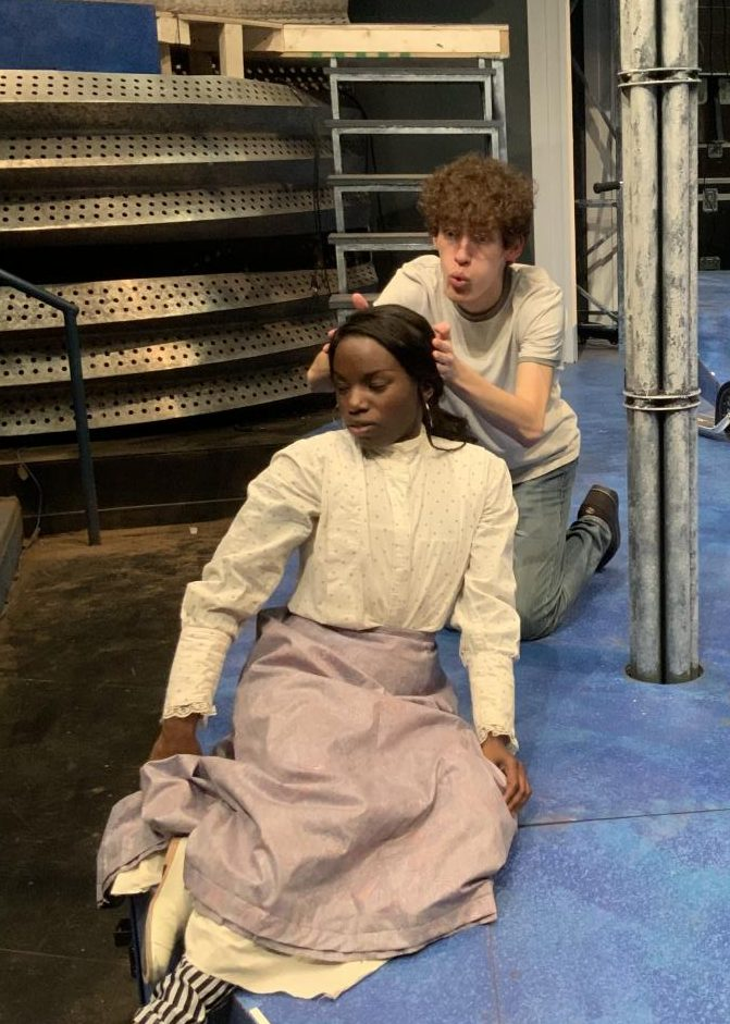 Easton Crisp, a sophomore theatre major, and Jada Hampton, a senior theatre major, rehearse a scene.