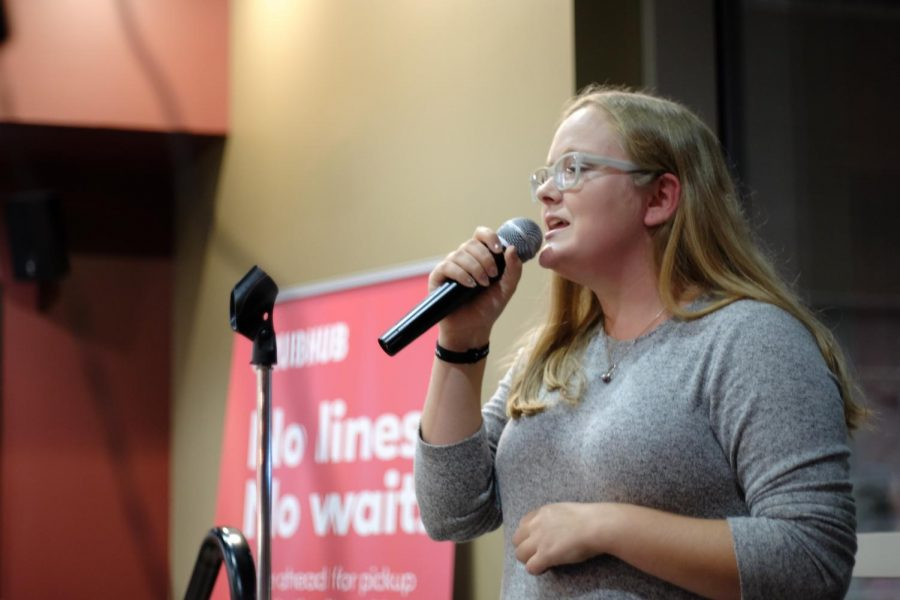 Tessa Robbins, a freshman business administration major, performed at the Starbucks Open Mic Night on Nov. 14.