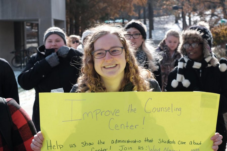 Senior Psychology major Claire Ellis at the front of the demonstration on Wednesday.