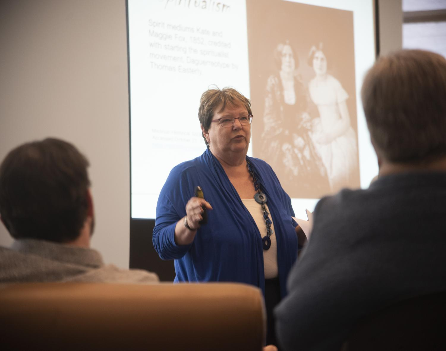Tamara Hunt, a professor of history and director of the Master of Arts and liberal studies hosted a lecture about Indiana's most popular ghost stories. Nov. 4 in the Rice Library.