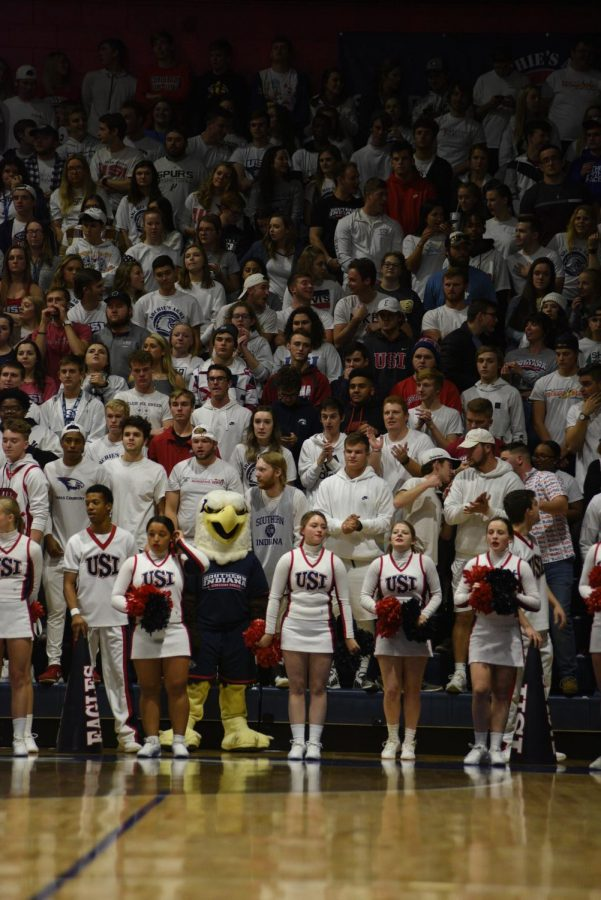 USI+students+attend+and+support+the+men%27s+basketball+team+Monday+night+at+the+Screaming+Eagles+Arena+against+Kentucky+Wesleyan+college.+The+Eagles+won+82-63.