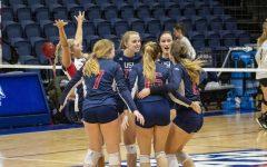 USI women's volleyball senior night defeats Maryville University, 3-1