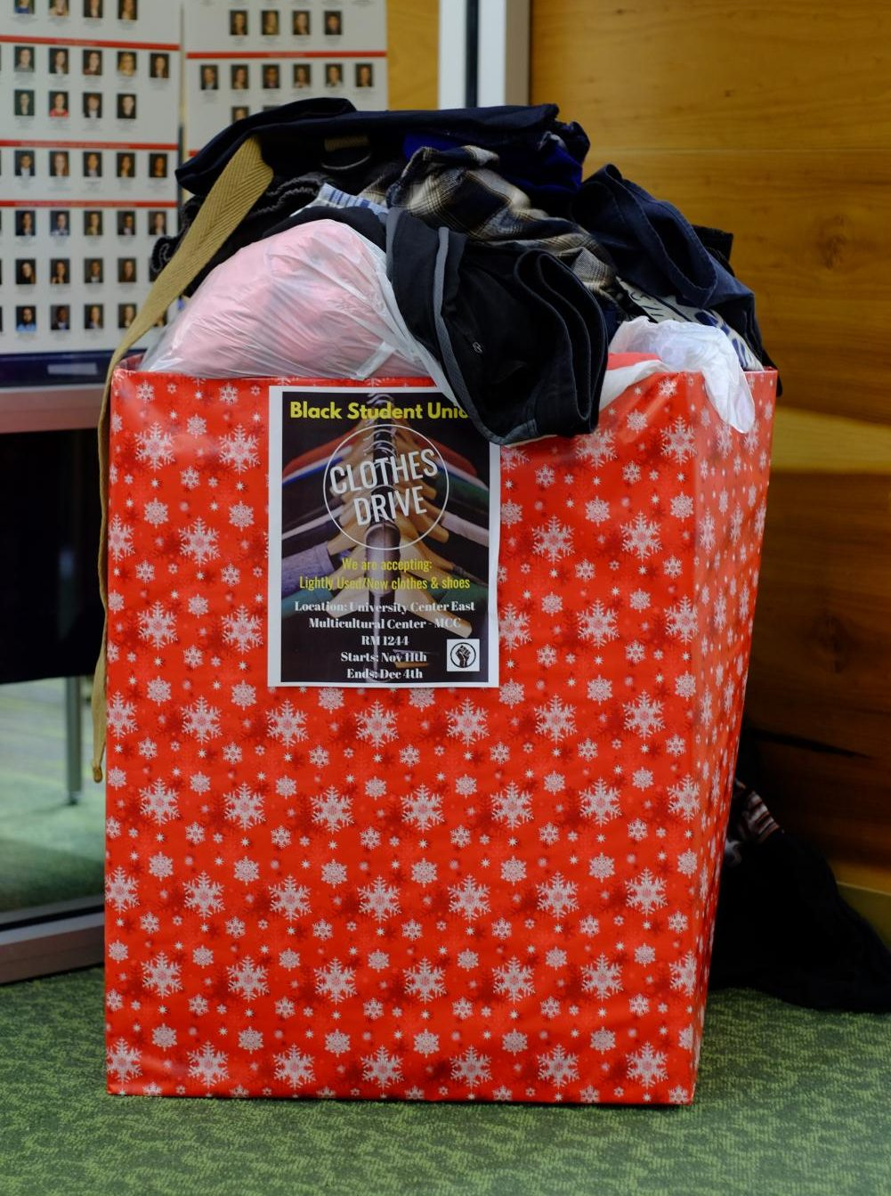 The Black Student Union hosted their clothes drive from Nov. 11 to Dec. 4 in the Multicultural Center.
