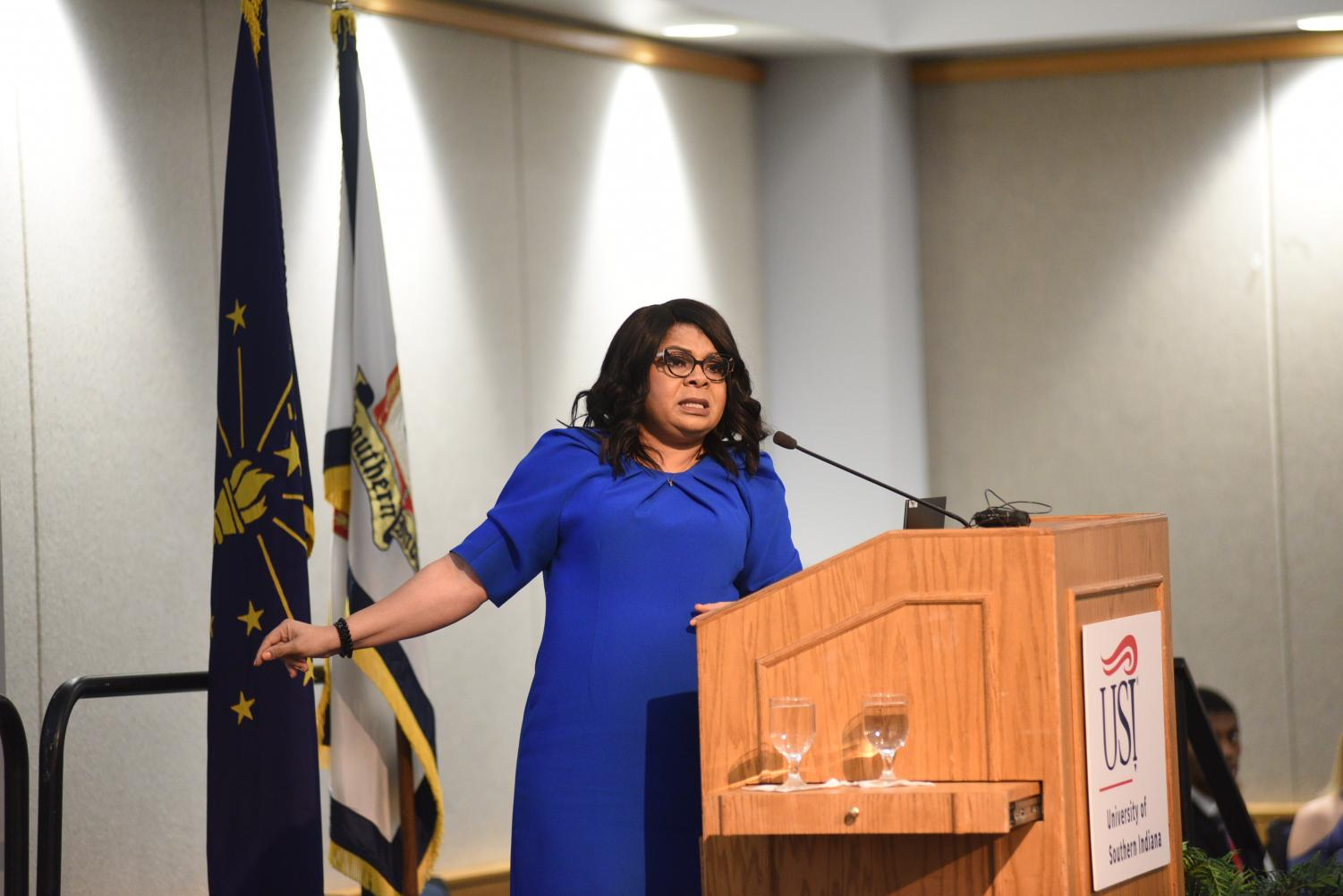White House correspondent April Ryan spoke at the Dr. Martin Luther King, Jr. Memorial Luncheon Jan. 20 in Carter Hall.