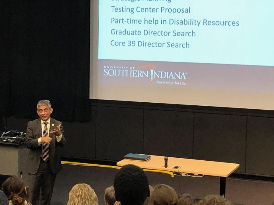 Provost Khayum speaks at town hall Feb. 12.