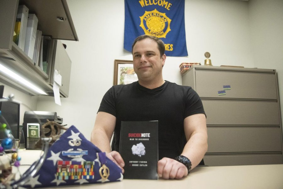 Anthony Farina, vice president of the student veterans association, authored a book titled